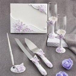 Fairytale Wedding Accessory Set: Flutes, Cake Servers & Guestbook, 1