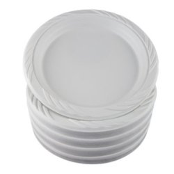 "White 6"" Disposable Plastic Plates - 300 Count"