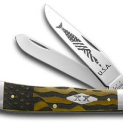 Case Xx U.S. Flag Antique Bone Trapper Etched Stainless 1/500 Pocket Knife Knives
