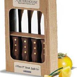 "Tramontina Stainless Steel 4 Piece 5"" Steak Knife Set With Dark Wood Handles"