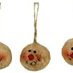 Craft Outlet Papier Mache Snowman Head Ornament, 1.5-Inch, Set Of 3
