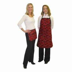 Set Of 2 - Chefs Waist Apron / Bib Apron Red Chili Pepper Design