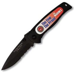 Smith & Wesson Sw21804 Swat Baby Black Serrated With Insert Knife, Black With Us Marines Design