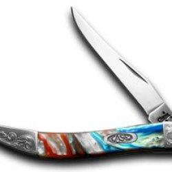 Case Xx Engraved Bolster Series Genuine Star Spangled Corelon Toothpick Knives