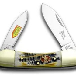 Steel Warrior Butter Rum Jigged Bone Canoe Pocket Knife Knives
