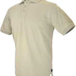 Hazard 4 Quickdry Undervest Battle Polo Tactical Velcro-Arm-Patch Plain Front Breathable Shirt, Tan, Medium