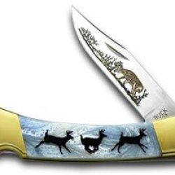 Buck 110 Folding Hunter Custom Blue Luster Corelon Running Deer 1/400 Knife