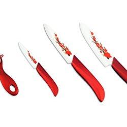 "Painted Zirconia Ceramic Kitchen Fruit Knife Set 3"" 5"" 6'' Inch With Peelercovers"