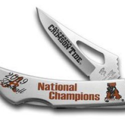 Frost Cutlery Solid Stainless Steel Alabama 2009 National Champion Lockback Pocket Knife Knives