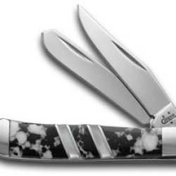 Case Xx Exotic Black And White Jasper Genuine Mother Of Pearl Tiny Trapper Pocket Knife Knives