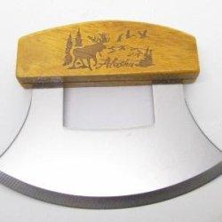 Inupiat Alaskan Cutlery Ulu Knife Honey Wood Etched Moose In Tree Design