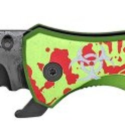 "Radioactive ""Splattered"" Led Rescue Folding Knife- Zombie Green"