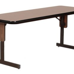 "Correll Sp2460Px 06 High Pressure Laminate Classroom, Training And Seminar Panel Leg Folding Table, Rectangular, 24"" Width X 60"" Length, Seats 2, Med Oak"
