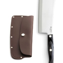 Cutco #1737 Cleaver With Leather Sheath - High Carbon Stainless Blade And Classic Brown Handle