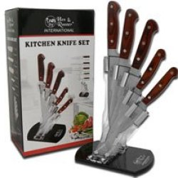 Hen & Rooster And Acrylic Block 5 Piece Wooden Kitchen Knife Set