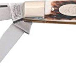 German Eye Jim Bowie Premium Folding Knife,Clip/Spey/Sheepsfoot Blade, Genuine Deer Stag 350Ds Jim
