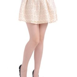 Anna-Kaci S/M Fit Beige Crochet Knit Rhinestone Embellished Sheer Overlay Skirt