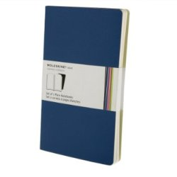 Moleskine Volant Notebook (Set Of 2 ), Large, Plain, Antwerp Blue, Prussian Blue, Soft Cover (5 X 8.25)