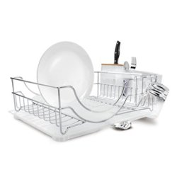 Simplehuman System Dishrack With Bamboo Knife Block, Stainless Steel