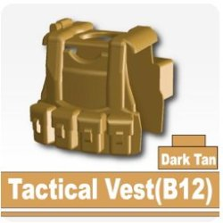 B12 Tactical Vest (Dark Tan) - Custom Minifigure Piece