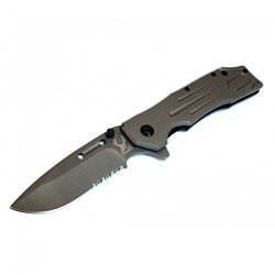 "New 9"" The Bone Edge Collection Grey Spring Assisted Knife Full Metal Handle With Belt Clip"