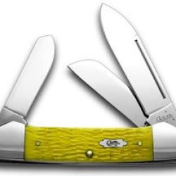 Case Xx Bright Yellow Jigged Bone Gunboat Canoe Pocket Knife Knives