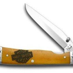 Case Xx Harley Davidson® Motorcycles Persimmon Orange Bone Trapperlock Pocket Knife Knives