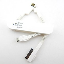 E-Age 3-In-1 Folding Knife Style Multi-Functional Usb Travel Data Cable For Ipod / Iphone 4/ Iphone 5 / Samsung Galaxy (White)