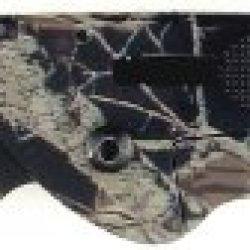Ruko 3-Inch Blade Folding Knife With Plain Edge Shark Lever Action Genuine Deer Horn Camouflage Handle