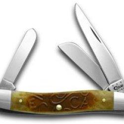 Case Xx Embellished Sawcut Antique Bone Medium Stockman Pocket Knife Knives