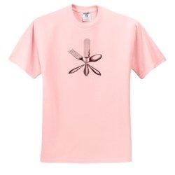 Florene - Vintage Ii - Image Of Knife Fork Spoon Vintage - T-Shirts - Adult Light-Pink-T-Shirt Small