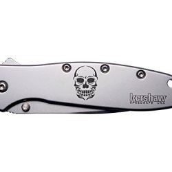 Skull Ape Tattoo Engraved Kershaw Leek 1660 Ken Onion Design Folding Speedsafe Pocket Knife By Ndz Performance