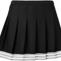 "Teamwork Girl'S Poise Pleated Cheerleader Skirts 23-24""W Black/Metalic Silver/White"