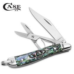 Case Knives 12004 Clip Point Peanut Pocket Knife With Abalone Handles