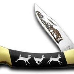 Buck 110 Custom Black Pearl Corelon Running Deer 1/400 Pocket Knife Knives