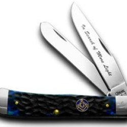 Case Xx Blue Masonic Trapper Collector'S Tin Pocket Knife Knives