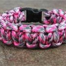"Pink Camo Paracord Survival Bracelet By Bostonred2010 (7"")"