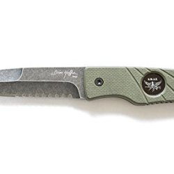 """Hoffner Knives Hand Spear Knife With """"Swat"""" Black Blade/Olive Handle And Kydex Sheath"""