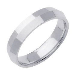14K White Gold Traditional Knife Edge Women'S Wedding Band (5Mm) Size-8