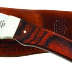 Utica Cutlery 11-7961W Hunting Knife With Cocobola Wood Handle And Leather Sheath, 8-Inch, Brown Wood Color