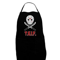 Scary Mask With Machete - Tgif Dark Adult Apron - Black - One-Size