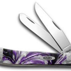 Case Xx Engraved Bolster Series Purple Passion Scrolled Trapper Pocket Knives