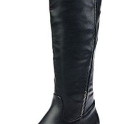 Index Zipper Long-Boots Genuine Leather Fashion For Women(8 B(M) Us, Black)