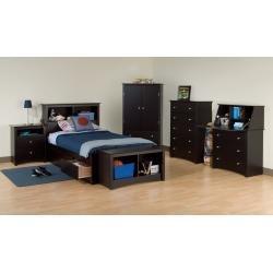 Image of Kids Bedroom Furniture Set 1 in Black - Sonoma Collection - Prepac Furniture - SNM-KBSET-1 (SNM-KBSET-1)