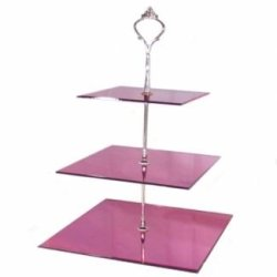 Three Tier Mirrored Pink Cakestand - Square