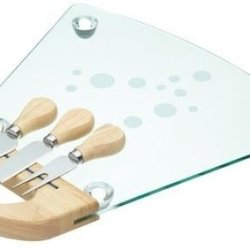Kitchen Craft Glass Cheese Board & Knives