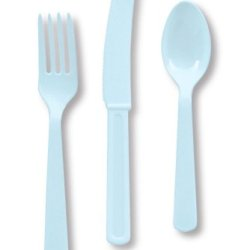 Creative Converting Touch Of Color Heavy Duty 24 Count Plastic Cutlery Assortment Set, Includes Fork/Spoon/Knife, Pastel Blue