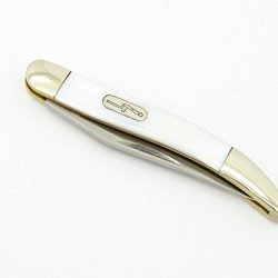 2008 Buck 385 Small Texas Toothpick Long Clip Point Single Solo Blade White Pearl Nickel Silver Handle Knife Bu385Wp