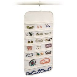 Hanging Jewelry Organizer White 37 Pockets Bedroom Closet Accessory Storage (2-Sets)