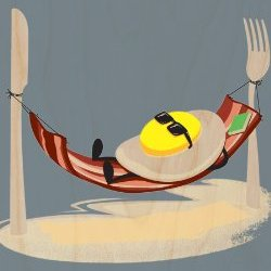 """Good Morning"" Funny Egg Sunny Side Up Relaxing In Bacon Hammock - Plywood Wood Print Poster Wall Art"